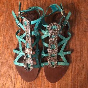 Gianni Bini turquoise embellished gladiator sandal